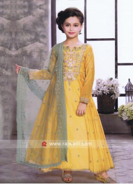 Embroidered Anarkali Salwar Suit for Girls