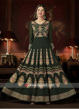 Embroidered Anarkali Semi Stitched Salwar Suit