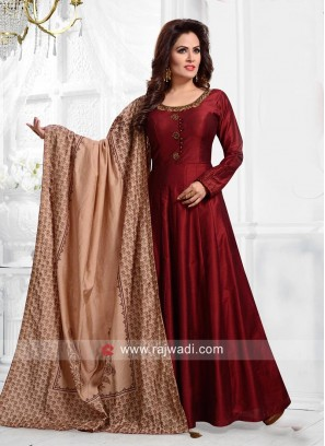 Embroidered Anarkali Suit in Maroon