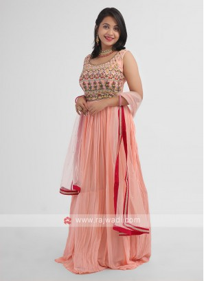 Embroidered Anarkali Suit In Peach
