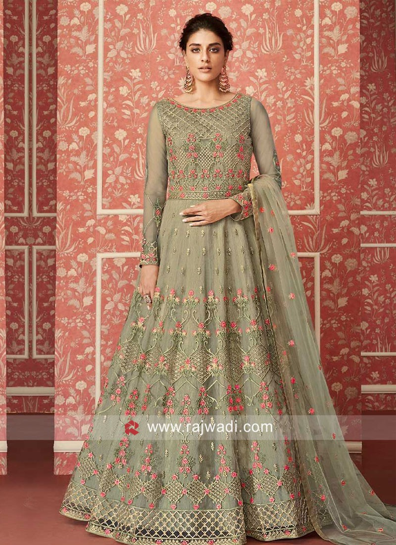 Embroidered Anarkali Suit in Pista Green