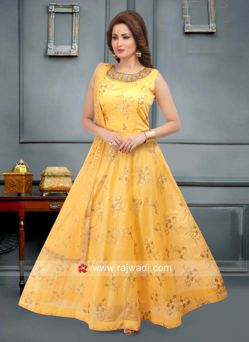 Embroidered Anarkali Suit in Yellow
