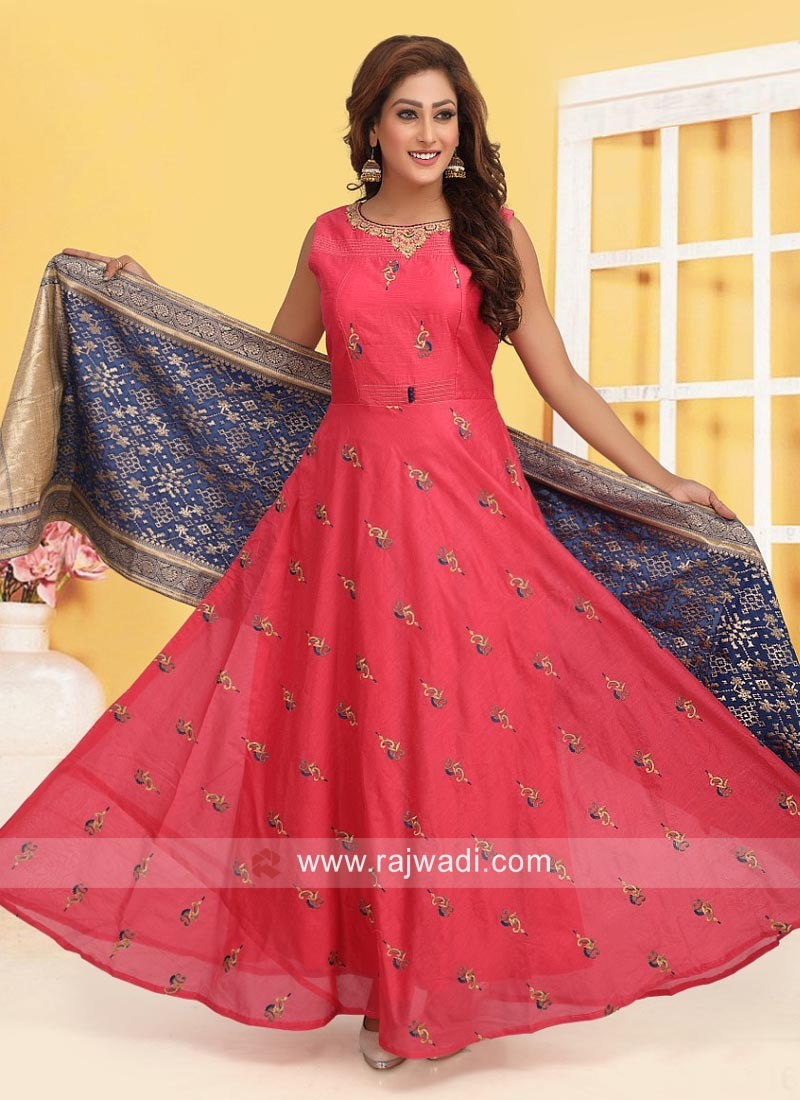 Embroidered Anarkali Suit with Contrast Dupatta