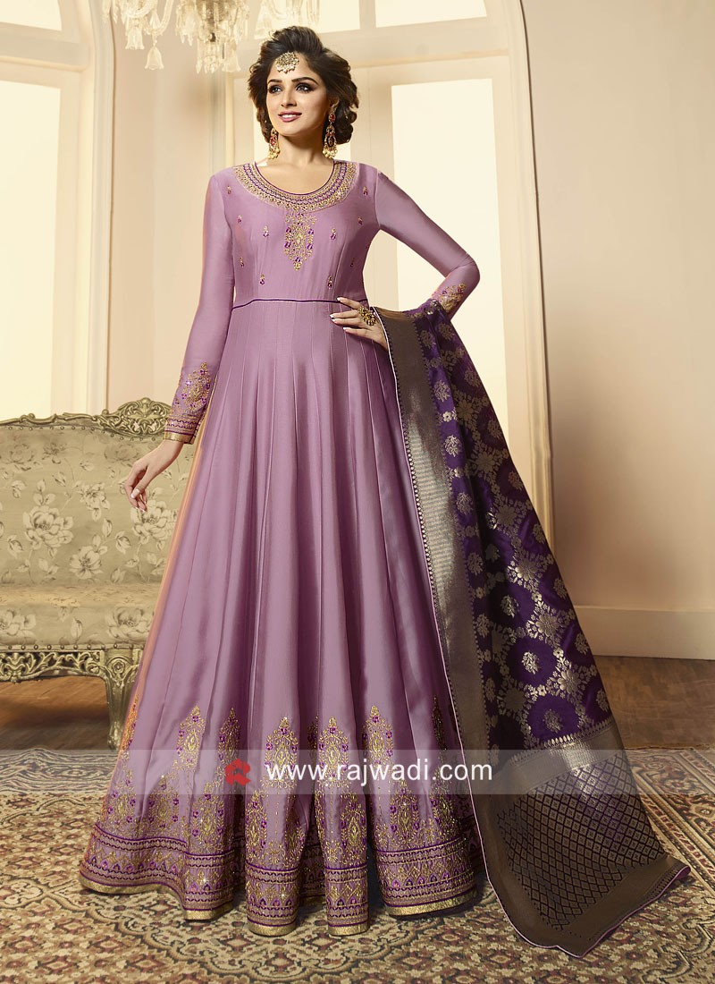 Embroidered Anarkali Suit with Dupatta