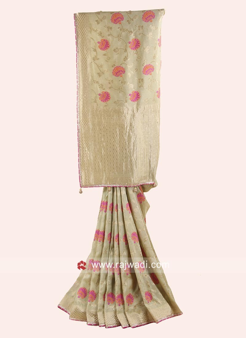 Embroidered Banarasi Silk Saree