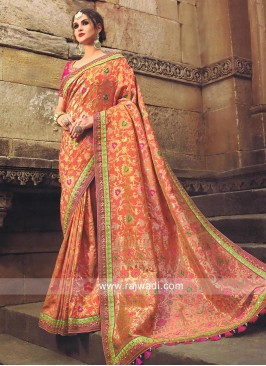 Embroidered Banarasi Silk Saree in Peach
