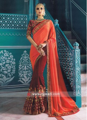 Embroidered Bridal Half N Half Saree