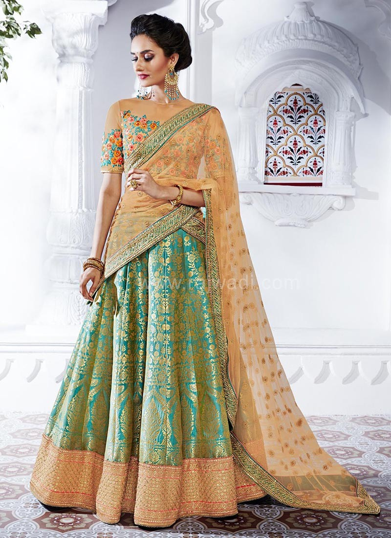 ee8435c3e7 Embroidered Bridal Lehenga Saree. Hover to zoom