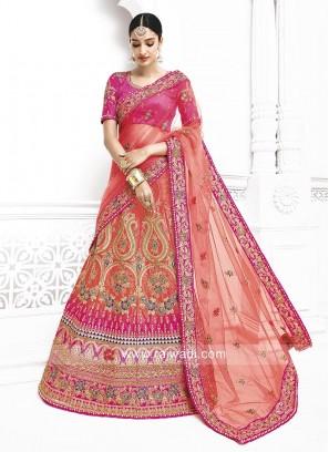 Embroidered Bridal Shaded Lehenga Saree