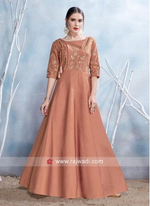 Embroidered Brown Stitched Gown
