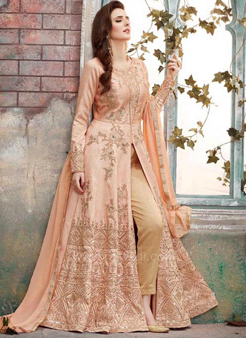 Embroidered Central Slit Dress Material in Light Peach