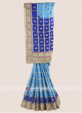 Embroidered Checks Saree