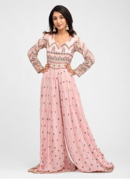 Embroidered Chiffon Jumpsuit In Pink