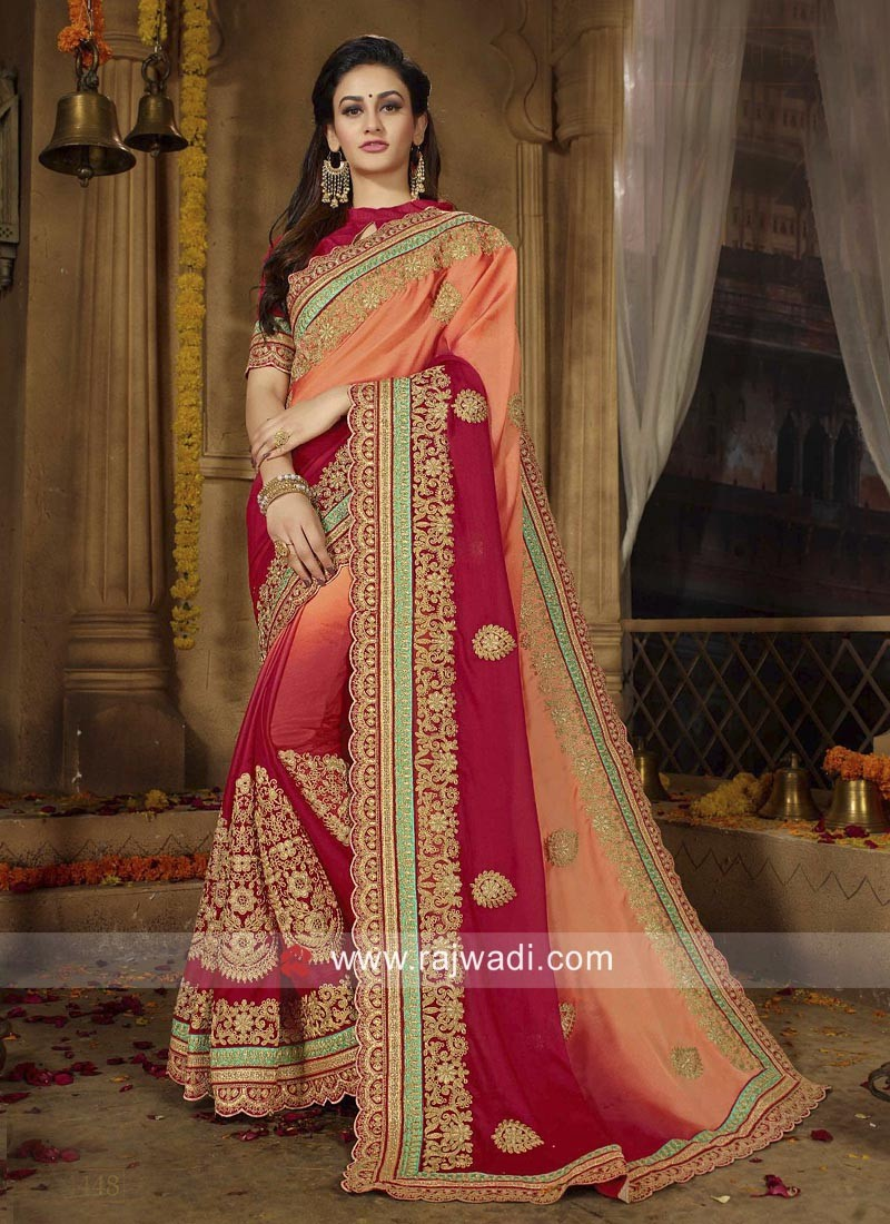 Embroidered Chiffon Shaded Saree