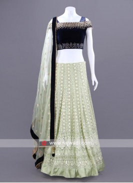 Embroidered Choli Set with Sheer Dupatta