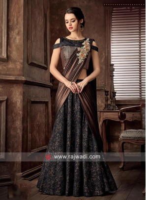 Embroidered Choli Suit with Attached Dupatta