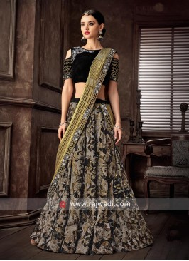 Embroidered Choli Suit with Pleated Dupatta