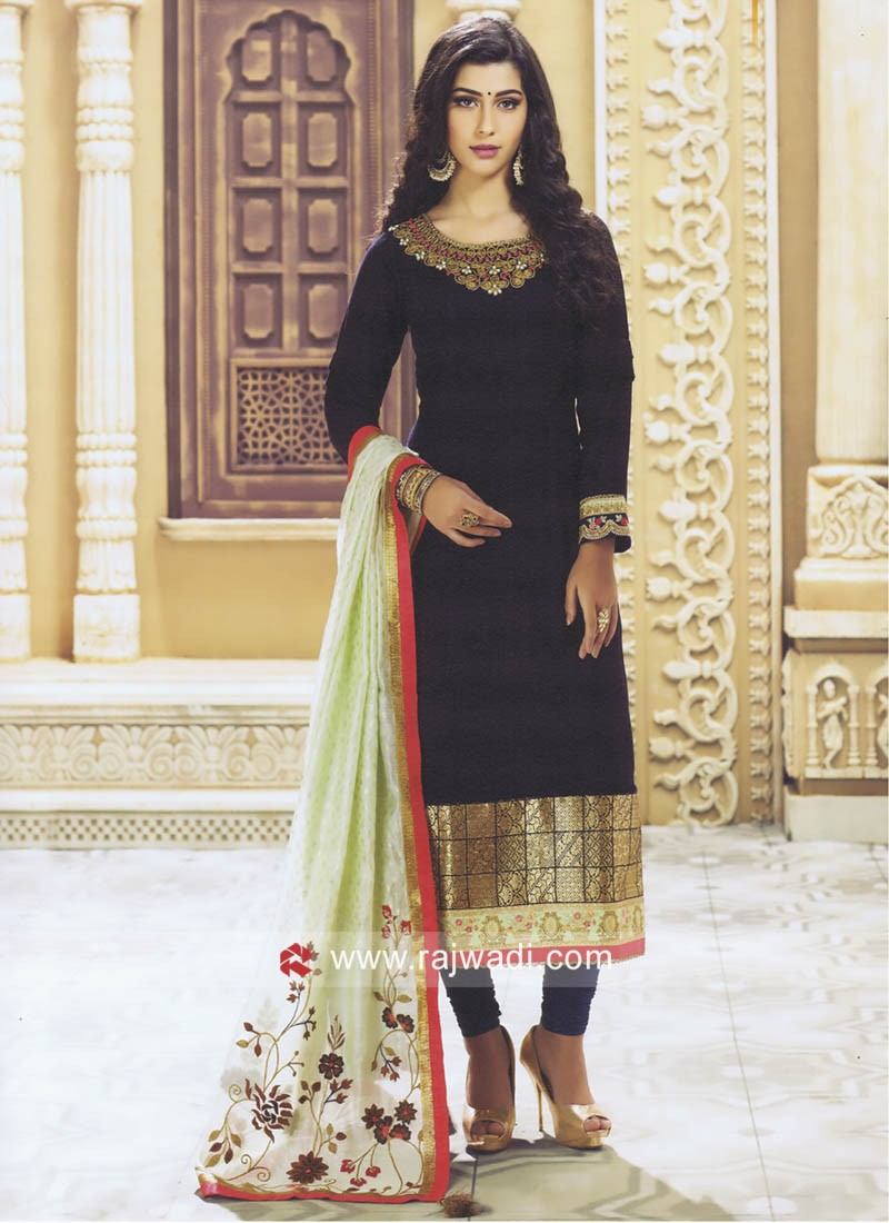 Embroidered Churidar Suit with Dupatta