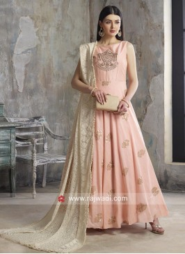 Embroidered Cotton Anarkali Suit in Peach