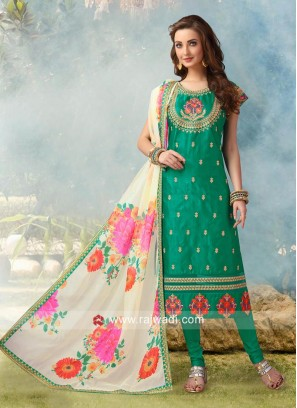 Embroidered Crepe Silk Churidar Suit