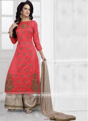 Embroidered Crepe Silk Palazzo Suit