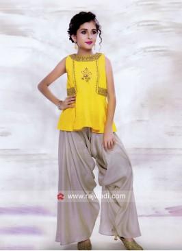 Embroidered Crop Top with Harem Salwar for Kids