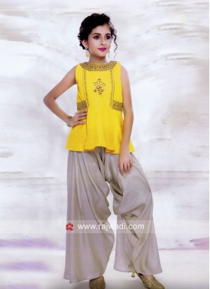 Embroidered Crop Top with Harem Salwar for Kids