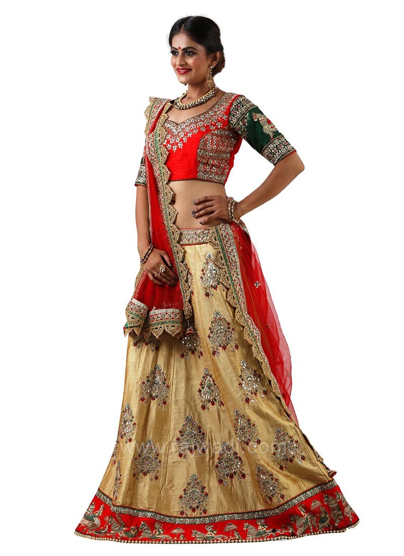 Embroidered Cut Work Border Dulhan Choli Suit