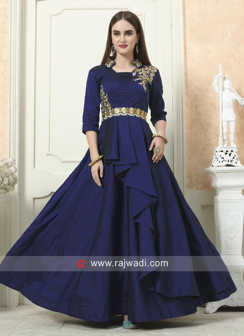 Embroidered Eid Gown in Taffeta Silk