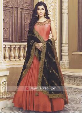Embroidered Flare Anarkali Suit
