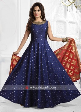 Embroidered Floor Length Anarkali in Blue