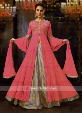 Embroidered Front Open Slit Lehenga Choli