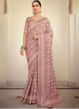 Embroidered Georgette Satin Classic Saree in Pink