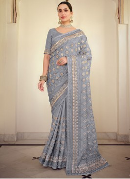 Embroidered Georgette Satin Traditional Saree in Lavender