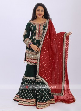 Embroidered Gharara Suit In Green