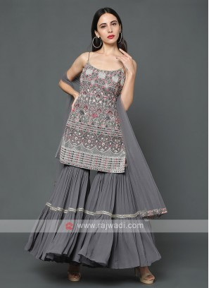 Embroidered Gharara Suit In Grey