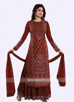 Embroidered Gharara Suit in Maroon