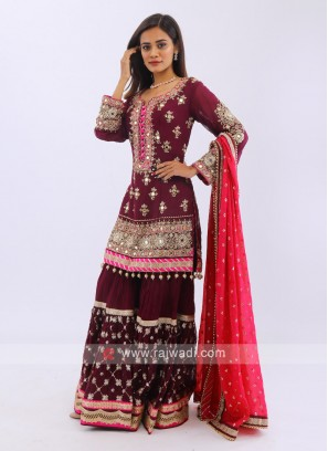Embroidered Gharara Suit In Purple