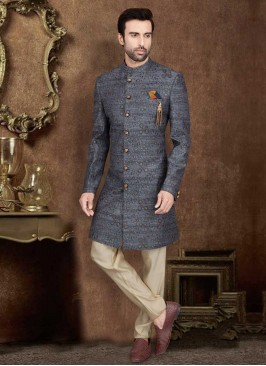 Embroidered Grey Indo-Western For Wedding