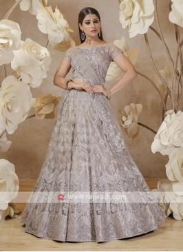 embroidered net lehenga choli in grey
