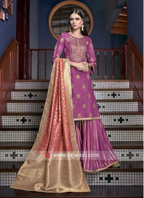 Embroidered Heavy Gharara Salwar Kameez