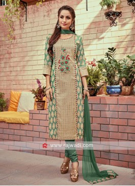Embroidered Kurta with Bottom and Chunni