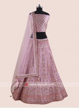 Embroidered Lehenga Choli in Light Pink