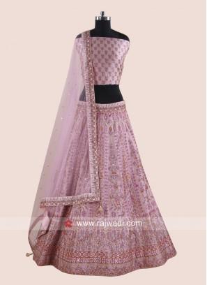 Embroidered Lehenga Choli in Light Pink