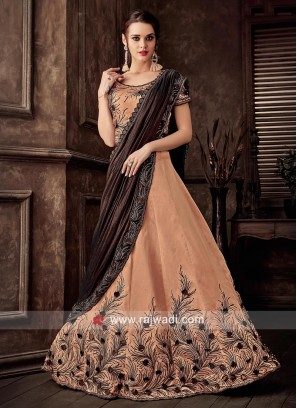 Embroidered Lehenga Choli in Peach
