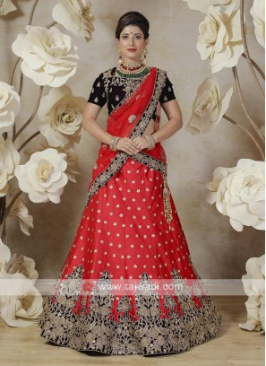 embroidered lehenga choli in red and wine color