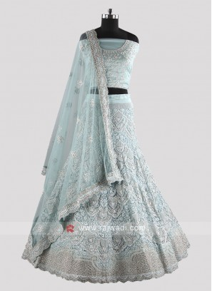 Embroidered Lehenga Choli in Sky Blue