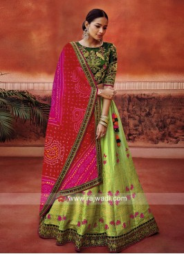 Embroidered Lehenga Choli with Bandhani Dupatta