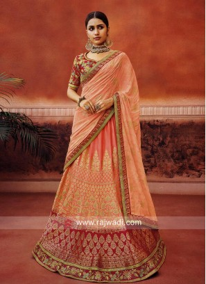 Embroidered Lehenga Choli with Satin Dupatta