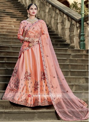 Embroidered Lehenga in Peach